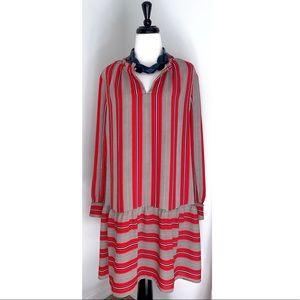 LOFT Red Spiced Flounce Drop Waist Dress